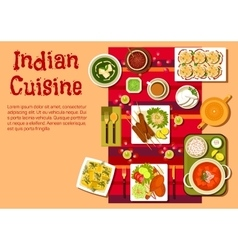 Indian cuisine dishes and snacks vector