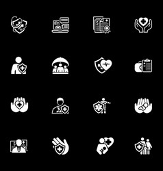 insurance and medical services icons set vector image vector image