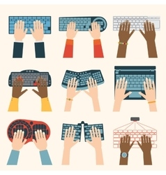 Keyboard hands set vector image