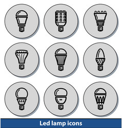 light led lamp icons vector image vector image