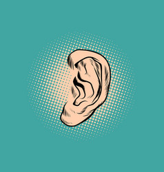 male human ear pop art retro vector image