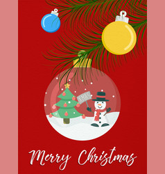 merry christmas snow globe snowman greeting card vector image vector image