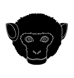 monkey icon in black style isolated on white vector image vector image