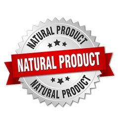 natural product 3d silver badge with red ribbon vector image vector image