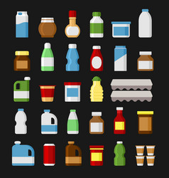 Product items set food and drinks icons vector
