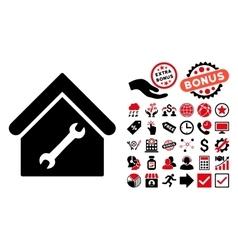 Repair Building Flat Icon with Bonus vector image