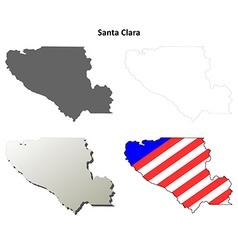 Santa Clara County California outline map set vector image vector image