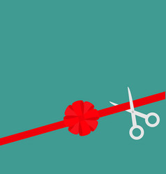 scissors cut straight red ribbon on the right big vector image vector image