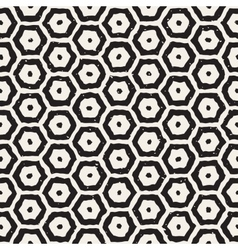 Seamless black and white hand drawn hexagon vector