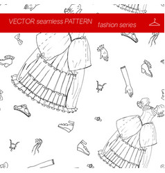Seamless pattern fashion set in hand drawing style vector