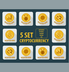set of different cryptocurrency flat style on a vector image