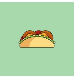 Tacos and burrito line icon vector image vector image
