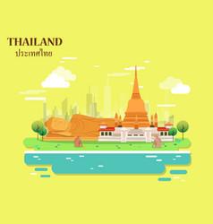 Temple and buddha for traveling in thailand vector