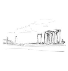 Temple of olympian zeus athens greece europe vector
