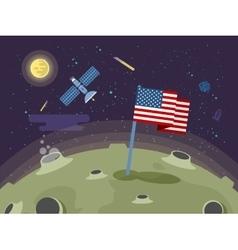 The usa flag stuck into the moon vector