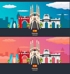 Travel to spain skyline flat vector