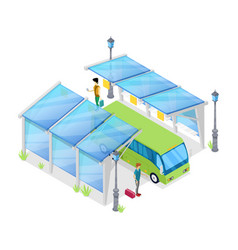 urban bus stop isometric 3d icon vector image