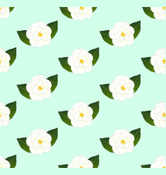 white camellia flower seamless on green mint vector image vector image
