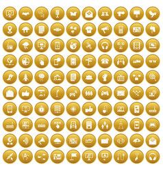 100 communication icons set gold vector