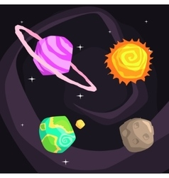 Solar system planets including sun earth jupiter vector