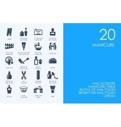 Set of blue hamster library manicure icons vector
