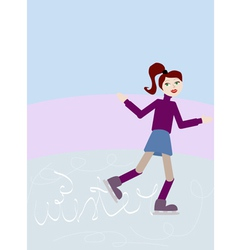 Girl skating on ice rink vector