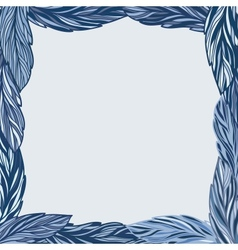 Frame with blue leaves vector