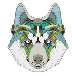 Poster with zenart patterned husky vector
