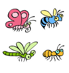 Cartoon crawling insects vector