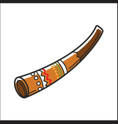 Didgeridoo musical instrument isolated on white vector
