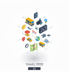 Travel integrated 3d web icons digital network vector