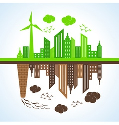 Eco and polluted city vector
