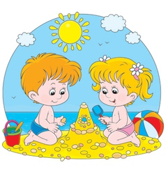 Children play on a beach vector