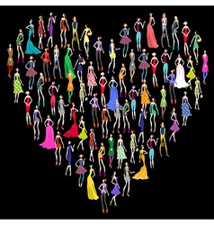 Fashion shopping heart vector image