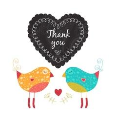 Thank you card with birds vector