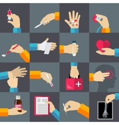 Medical hands flat icons set vector