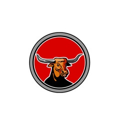 Texas longhorn red bull circle retro vector