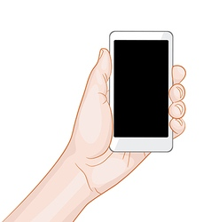 Hand holding a white smartphone with blank screen vector