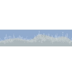 Winter background with grass bushes vector