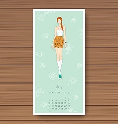 July hand drawn fashion models calendar 2016 vector