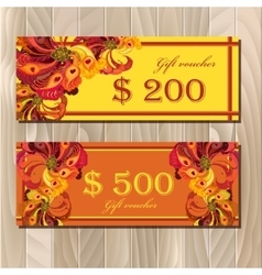 Gift certificate card template with peacock vector