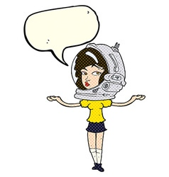 Cartoon woman wearing space helmet with speech vector