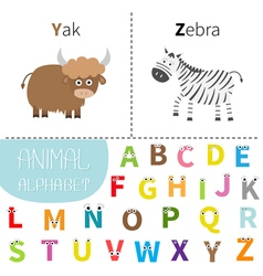 Letter y z yak zebra zoo alphabet english abc with vector