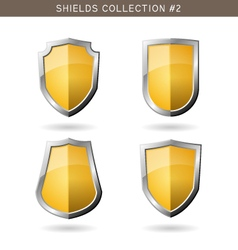 Set of metal orange mediavel shields template on vector