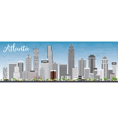 Atlanta skyline with gray buildings and blue sky vector