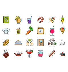 Diner colorful icons set vector image
