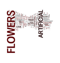 Artificial flowers text background word cloud vector