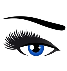 blue eye with long eyelashes vector image
