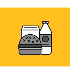 Breakfast Burger and Milk Icon vector image