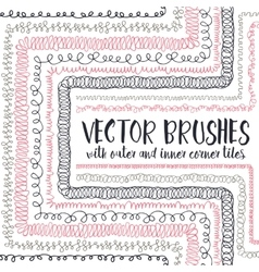 brushes with inner and outer corner tiles vector image